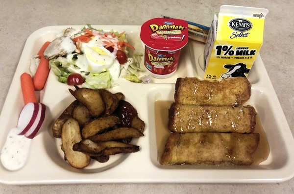 French Toast Sticks with Potato Wedges and Fruit and Veggie Bar.